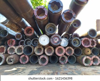 Makarti, Indonesia - January 2020. 3.5 inch drill pipe which is loaded on a trailer truck