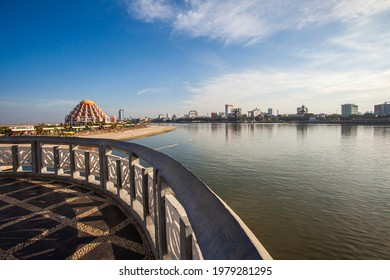 Makassar, Indonesia - 10-26-2019: Beautiful view of Makassar City, South Sulawesi, Indonesia, with Masjid 99 Kubah (99 Domes Mosque) and Losari Beach Area,  South Sulawesi, Indonesia.