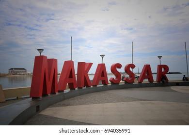 MAKASSAR, INDONESIA - August 11, 2017: Makassar's name is installed at the Losari Beach