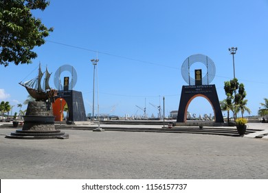 MAKASSAR, INDONESIA - AUGUST 14 2018: Front view of Losari Pavilion in Makassar City. This place is one of the favorite locations of tourists who come to Makassar