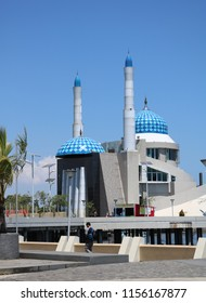 MAKASSAR, INDONESIA - AUGUST 14 2018: Amirul Mukminin Mosque which looks majestic and beautiful is located at the Losari Pavilion of Makassar City. This mosque is also known as the floating mosque