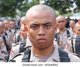 MAKASSAR, INDONESIA - August 9, 2017: Portrait of Bintara Polri students at SPN Batua, while attending the opening ceremony of education