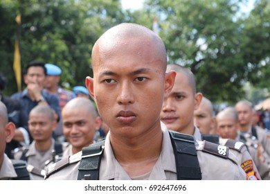 MAKASSAR, INDONESIA - August 9, 2017: Bintara Police students, following a series of opening ceremony of education in SPN Batua, Makassar with a serious face