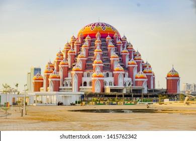 MAKASSAR, INDONESIA - JUNI 6 2019: Losari Beach in Makassar City with 99 domes of mosque background - Image