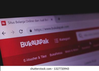 MAKASSAR, INDONESIA - MARCH 3 2019: The homepage of the Bukalapak website is seen through a laptop screen in Makassar, url - bukalapak.com