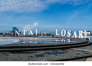 MAKASSAR, INDONESIA - MARCH 3 2019: Losari Beach is located in Makassar City which is a tourist location that is visited by many tourists