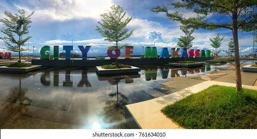 MAKASSAR, INDONESIA - November 24, 2017: Atmosphere at Losari Beach Makassar with hot sun. With panoramic camera effect