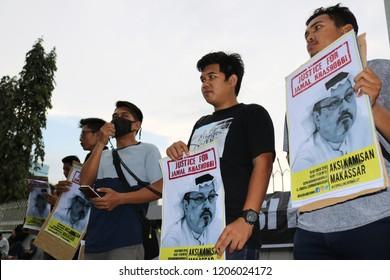 MAKASSAR, INDONESIA - OCTOBER 18 2018: Humanitarian activists in Makassar City held a demonstration related to the death of Jamal Khashoggi, one of the Saudi Arabian journalists in Turkey