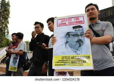MAKASSAR, INDONESIA - OCTOBER 18 2018: Humanitarian activists in Makassar City held a demonstration related to the death of Jamal Khashoggi, one of the Saudi Arabian journalists in Turkey
