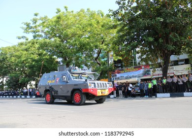 MAKASSAR, INDONESIA - SEPTEMBER 19 2018: The police vehicle's official vehicle passed on Ahmad Yani Street in Makassar City after conducting a security simulation