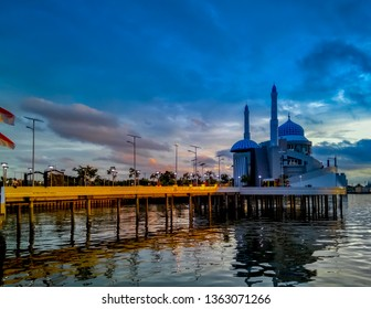 Makassar, South Sulawesi / Indonesia - Jan 23, 2017: Aerial View of Amirul Mukminin Floating Mosque, An Icon in Losari Beach