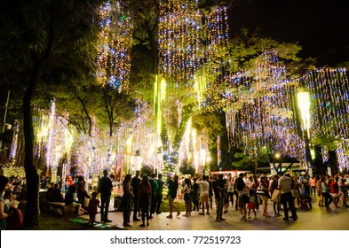 Makati Central Business District, Philippines - December 10, 2017: Ayala Triangle Christmas Light show