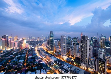 Makati City Skyline at night. Manila, Philippines.