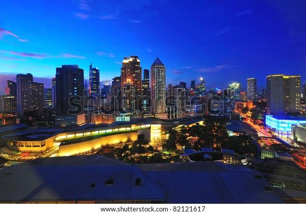 Makati city in twilight, Philippines