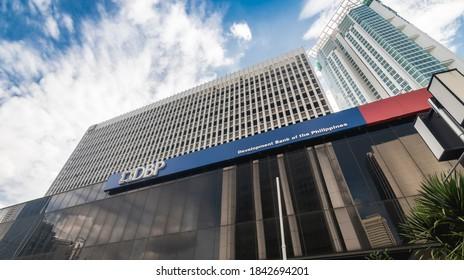 Makati, Metro Manila, Philippines - Oct 2020: Development Bank of the Philippines (DBP) headquarters.