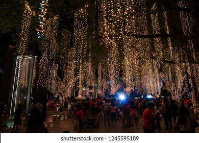 Makati, Philipines - November 11, 2018: people gather at Ayala Triangle Gardens to watch short Christmas light show