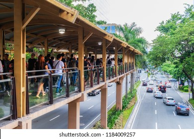 Makati, Philippines - July 30, 2018: Commuters In Makati Central Business District