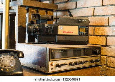 Makati/Philippines - February 10, 2019: old fashioned video recorder, telephone and radio