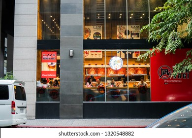 Makati/Philippines - February 10, 2019:  people having snacks in late afternoon at Ramen Nagi