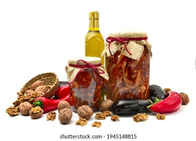 Makdous in Jar with ingredient stuff vegetables and olive oil isolated on white background