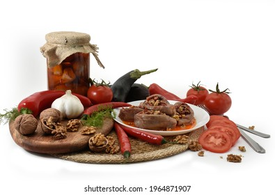 Makdous in Plate and Makdous in Jar with vegetables isolated on white background