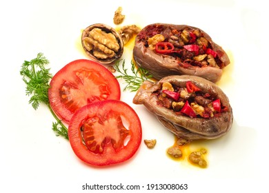 Makdous with slides tomato  isolated on white backgroind