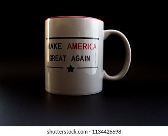 make america great again cup in studio light trump campaign white coffee cup