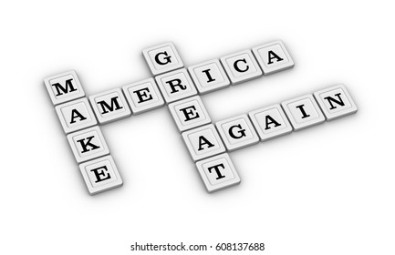 Make America Great Again Political Slogan. 3D illustration of Crossword Puzzle on White Background.