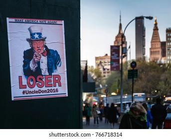 Make America Hate Again, Loser Trump Election protest poster near Madison Square, New York - April 2016