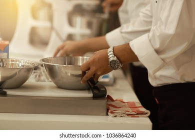 Make a bakery hand-cooking on the table. close up (Happy time cooking concept)