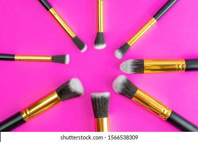 Make brush powder. Drawing cosmetic products isolated on pink ba