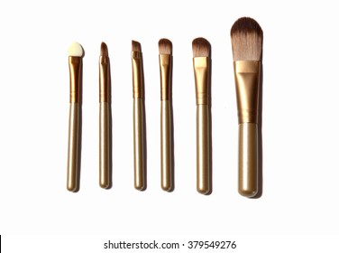 Make up brush set for face beauty and fashion concepts on white background