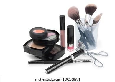 make up brush set and make up on white background