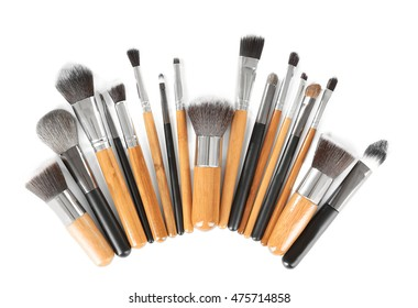 Make up brushes isolated on white
