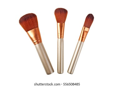 Make up brushes isolated on a white background, close up