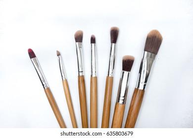 Make up brushes on white isolated background