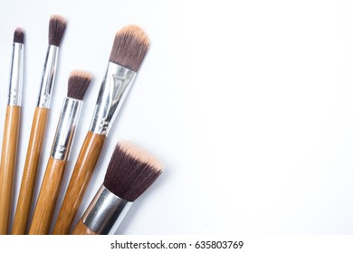 Make up brushes on white isolated background