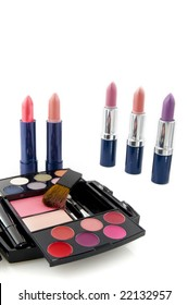 Make up case with many colors and lipsticks