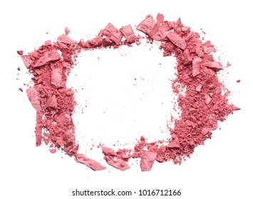 Make up crushed pink eyeshadow, blush or powder isolated on white background. Texture fo broken pink eyeshadow, blush or powder isolated on white background