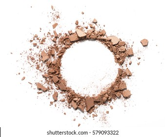 Make up crushed powder in the form of a circle on white background. Make up crushed powder on white background. Texture of make up crushed powder isolated on white background