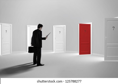 Make a decision. Choose a job. Be interviewed. Recruitment. Achieving the goal. Cease to be unemployed. Due to bureaucracy. With question marks on the red open door.