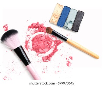 Make up eye shadow and powder blush isolated on white