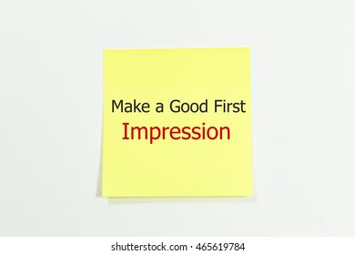 Make a Good First Impression word written on yellow sticky notes