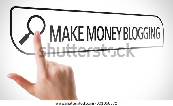 Make Money Blogging written in search bar on virtual screen