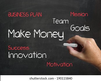 Make Money on Chalkboard Meaning to Generate Wealth and Income