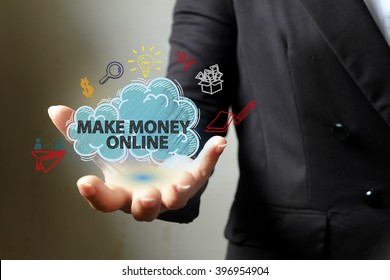 MAKE MONEY ONLINE  concept with icons on hand , business concept , business idea,business analysis
