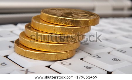 Make Money Online White Keyboard Gold Stock Photo (Edit Now