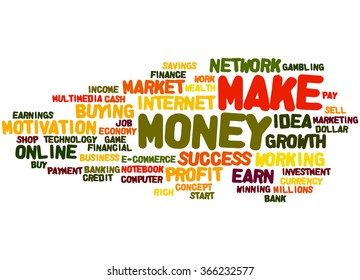 Make Money, word cloud concept on white background.