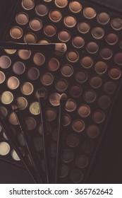 make up palette on black background