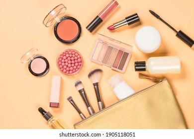 Make up products. Professional cosmetics at color background. Flat lay image.